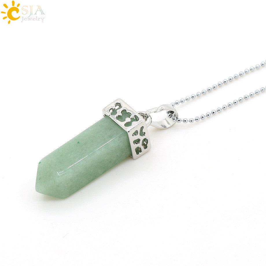 CSJA Pendulum Natural Gem Stone Drop Pendant Chain Power Necklace Pink Crystal Women Jewelry Accessories Jasper Men Gift E115 - Best price in 10minus
