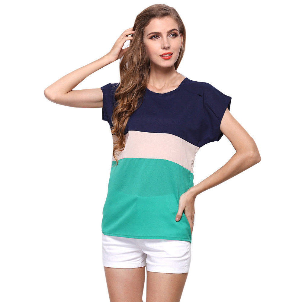2016 New Summer Women Blouses Chiffon Shirt Loose Big Size Tops Short Sleeve Lady Shirt Camisa Tops Red Green Striped blusas - 10MINUS: Online Shopping Destination with High-Quality