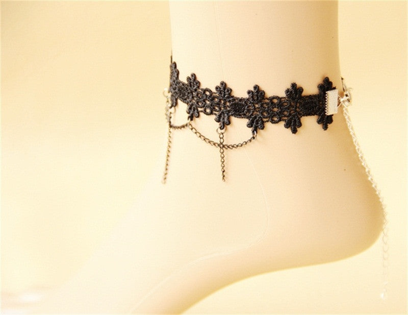 Handmade Gothic jewelry black lace women's anklets women accessories vintage foot jewelry  FL-11 - Best price in 10minus