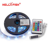 Hello Fish 5M 5050 RGB LED strip,150LED/m LED tape +24 key remote controller Kit, Free Shipping - 10MINUS: Online Shopping Destination with High-Quality