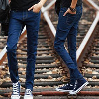 Hot Style Boys Slim Fit Jeans Teenagers Thin Denim Solid Casual Cheap Black Bottoms Cuffed Strech Handsome Harem Pants 28-34 - 10MINUS: Online Shopping Destination with High-Quality