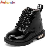 2016 New Enfant Children Martin Boots PU Leather Kids Sneakers Girls Boys Winter Shoes Kids Rain Boots Waterproof Chaussure - 10MINUS: Online Shopping Destination with High-Quality