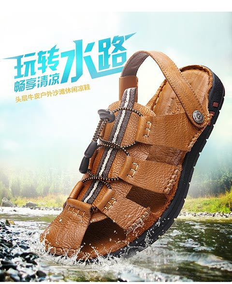 Dekesen brand Men's Summer Cool Sandals Non Slip Genuine Leather Soft Rubber Sole Beach Shoe high quality Casual Shoes - Best price in 10minus