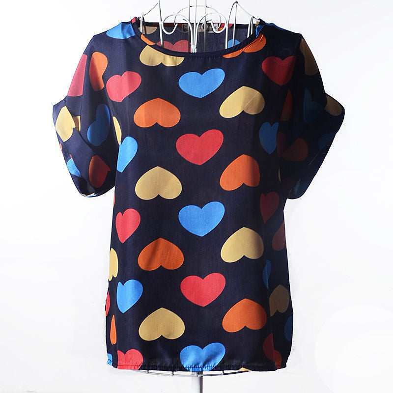 2016 Batwing Sleeve Women Blouses Clothing Casual Chiffon Shirt Blusas Tops Heart Animal Stripe Leopard Print Pattern Plus size - 10MINUS: Online Shopping Destination with High-Quality