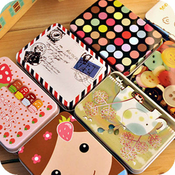 Mini Cute Kawaii  Cartoon Tin Metal Box Case Home Storage Organizer For Jewelry Kids Toy Gift Home Supplies Free shipping 205 - Best price in 10minus
