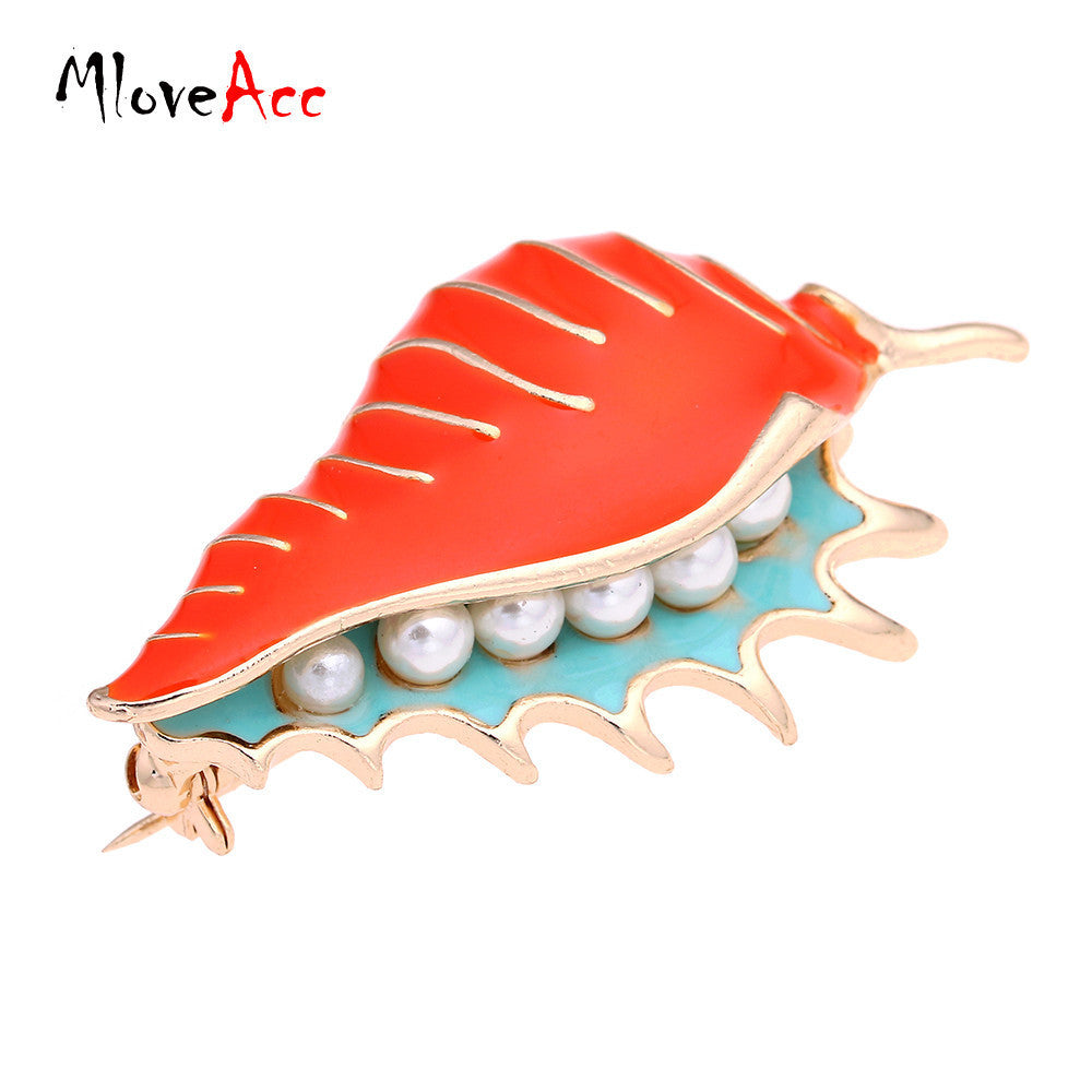 MloveAcc Vintage Enamel Conch Sea Snail Brooch Pin Retro Simulated Pearl Accessories Gothic Jewelry - 10MINUS: Online Shopping Destination with High-Quality