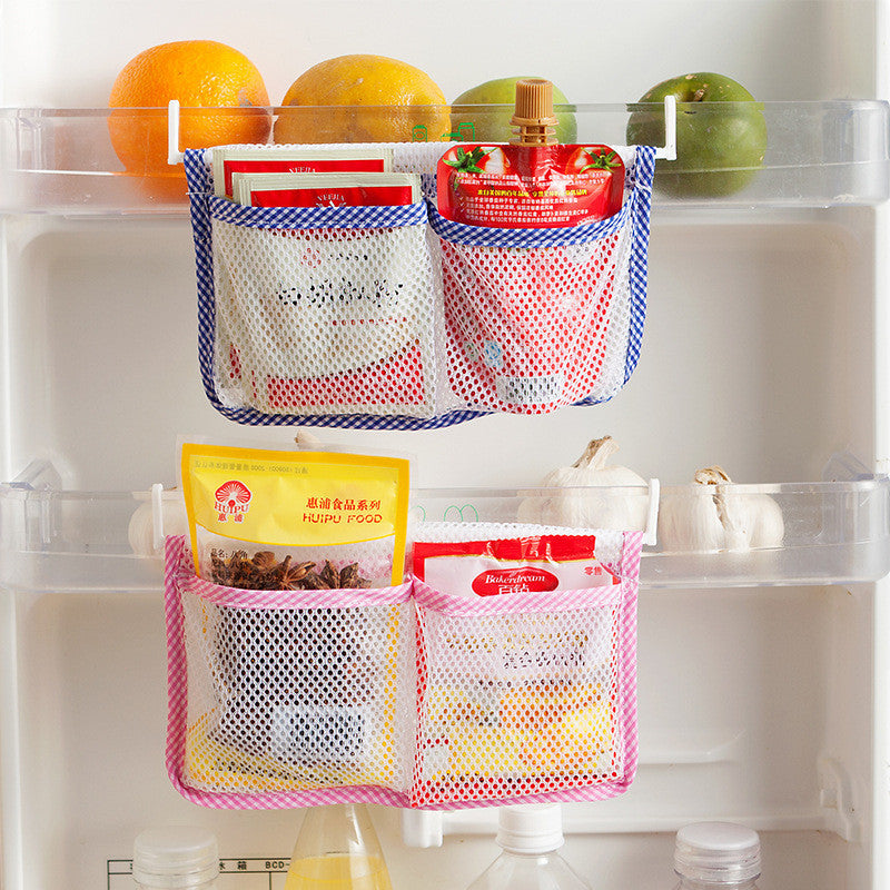 Modern Kitchen Refrigerator Hanging Storage Bag Food Organizer Fridge Storage Bag with 2 Hooks Save Space Storage Bags Blue Pink - Best price in 10minus