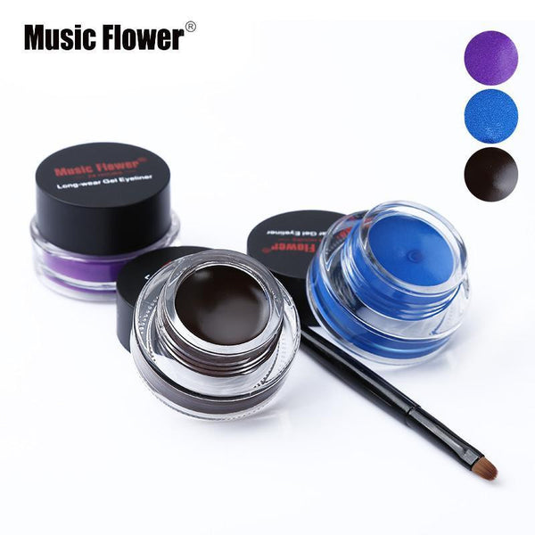 Music Flower Brand Makeup Eyeliner Gel Black Waterproof Cosmetic  Eye Liner Cream with Make Up Brush Tool 24 Hours Long-lasting - Best price in 10minus