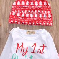 My First Christmas Baby Boy Girls Print Tops Romper Clothes Sets Christmas Party Clothing Wear 3PCS Snow Outfit Set Clothes - Best price in 10minus