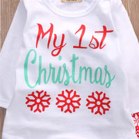 My First Christmas Baby Boy Girls Print Tops Romper Clothes Sets Christmas Party Clothing Wear 3PCS Snow Outfit Set Clothes - 10MINUS: Online Shopping Destination with High-Quality
