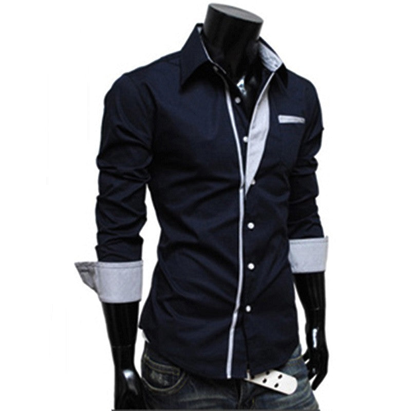 100% Brand New Autumn Winter Cool Men Male Fashionable Design Strap Decoration Long Sleeve Slim Shirts Tops Personal Type Shirt - 10MINUS: Online Shopping Destination with High-Quality
