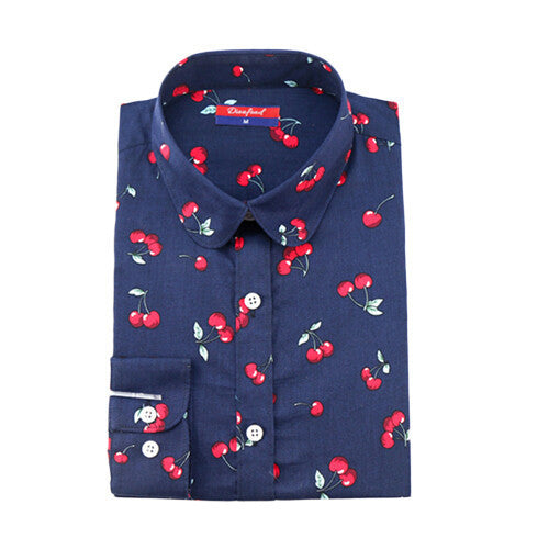 Dioufond Women Cherry Blouses Long Sleeve Shirt Turn Down Collar Floral Blouse Camisas Femininas Women And Blouses Fashion - Best price in 10minus
