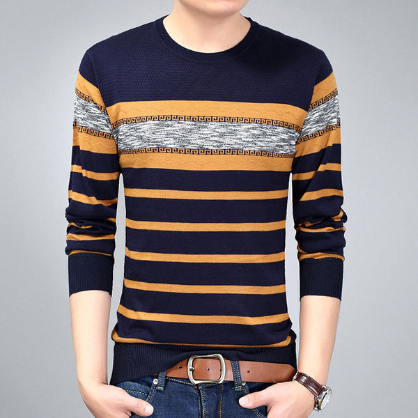 NCLAGEN 2017 New Spring Autumn Men Fashion Brand Casual Sweater O-Neck Striped Slim Fit Knitted Mens Sweaters Pullovers M-3XL - Best price in 10minus