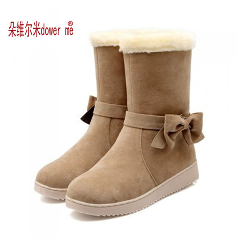 New Arrival Hot Sale Women Boots Solid Bowtie Slip-On Soft Cute Women Snow Boots Round Toe Flat with Winter Shoes - 10MINUS: Online Shopping Destination with High-Quality