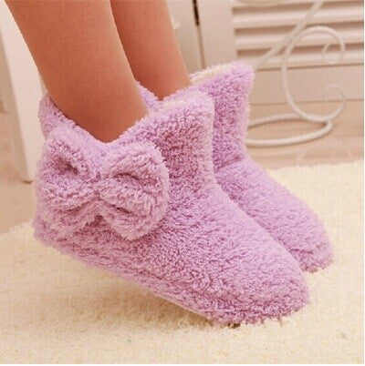 New Autumn And Winter Warm Cotton-padded Shoes Cute Bow Iindoor Boots Soft-soled Slippers At Home Candy-colored Plush Boots - 10MINUS: Online Shopping Destination with High-Quality