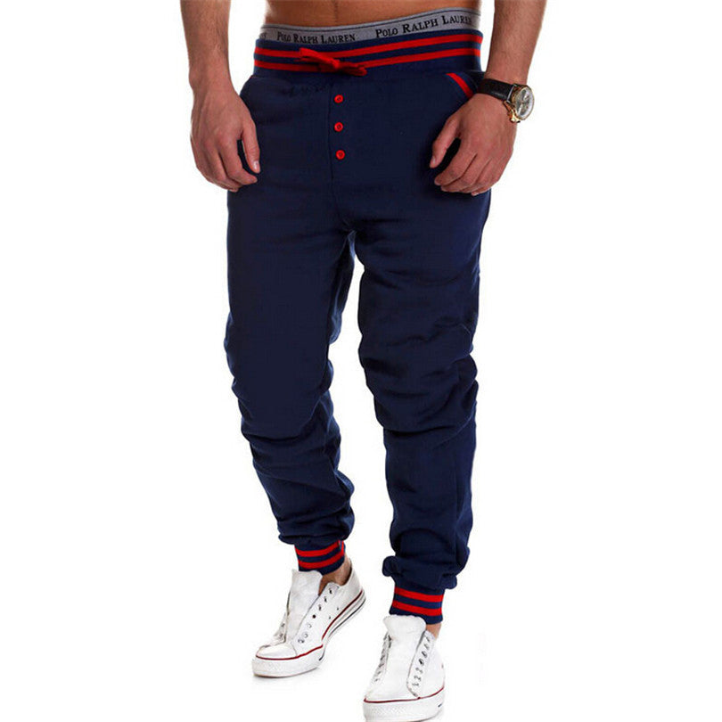New Fashion Men Pants Loose Sweatpants Button Pant Low Waist With Drawstring Patchwork Color Trousers Pantalones Mens Male B008 - 10MINUS: Online Shopping Destination with High-Quality