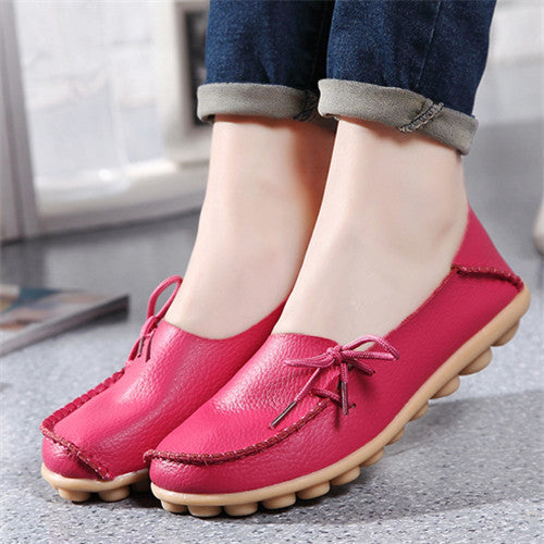 New PU Leather Women Flats Moccasins Loafers Wild Driving women Casual Shoes Leisure Concise Flat shoes In 15 Colors  ST179 - Best price in 10minus