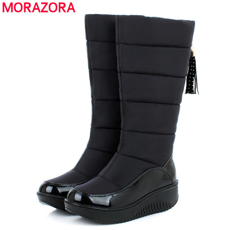 new Russia thick fur winter snow boots Cotton shoes fashion platform down black women boots footwear half knee high boots - 10MINUS: Online Shopping Destination with High-Quality
