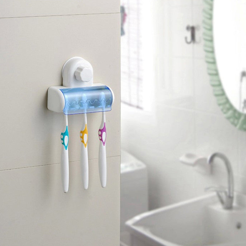 New Suction Cup Wall Mount Bathroom 5 Hooks Toothbrush SpinBrush Rack Stand Holder - Best price in 10minus