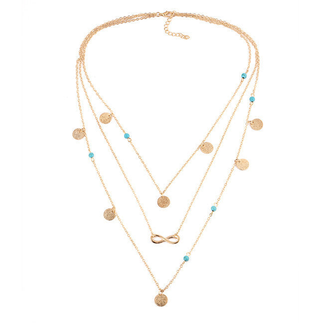 17KM Fashion Turquoise Necklaces for Women Multi Layer Leaf Chain Bohemian Choker Jewelry Body Chain Jewellery Gargantilha - Best price in 10minus