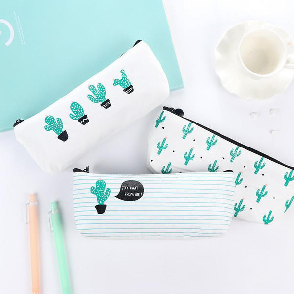 Novelty Cactus Canvas Pencil Case Student School Stationery Cute Mini Estuches Chancery Pen Bag Box - Best price in 10minus