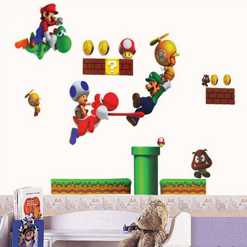 On Sale New Super Mario Bros PVC Removable Wall Sticker Home Decor For Kids Room Free Shipping - 10MINUS: Online Shopping Destination with High-Quality