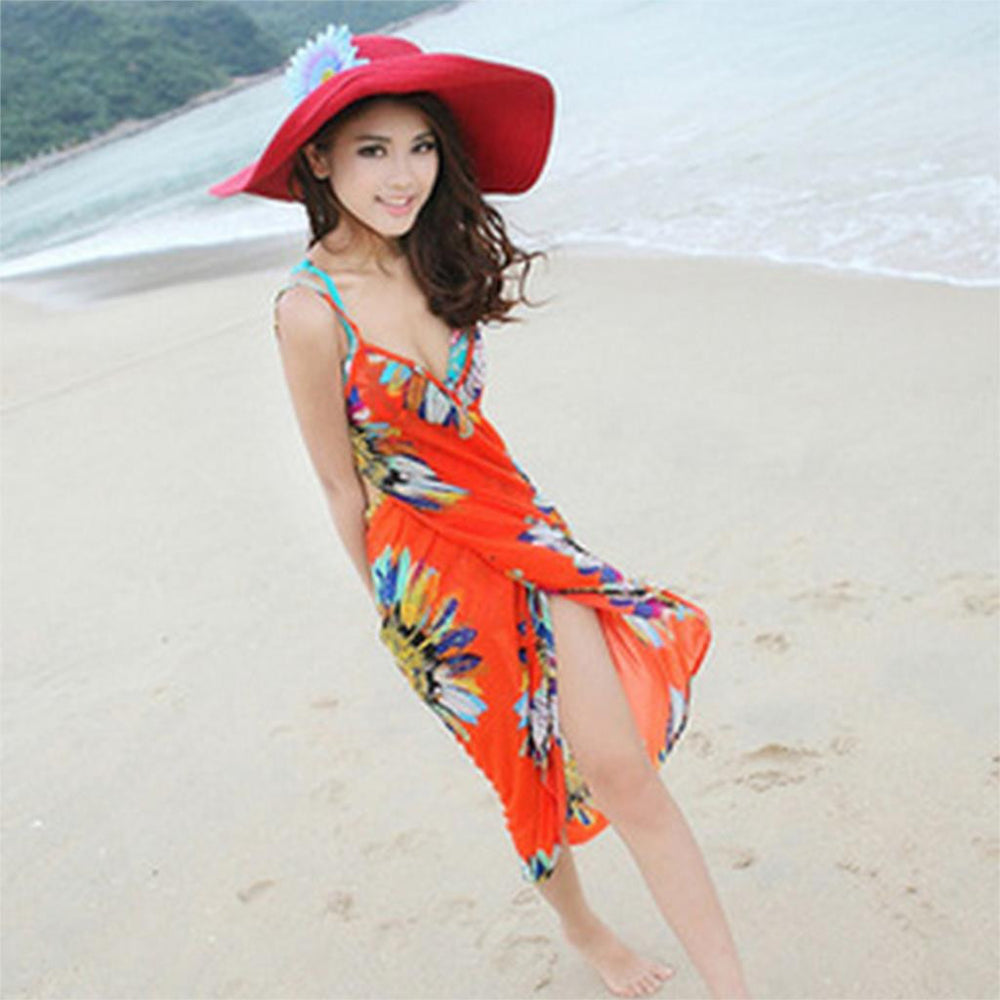 2016 New Summer Women Clothing Vintage Bohemian Flower Printed Casual Dress Sleeveless Chiffon Mini Beach Dress Vestidos - 10MINUS: Online Shopping Destination with High-Quality