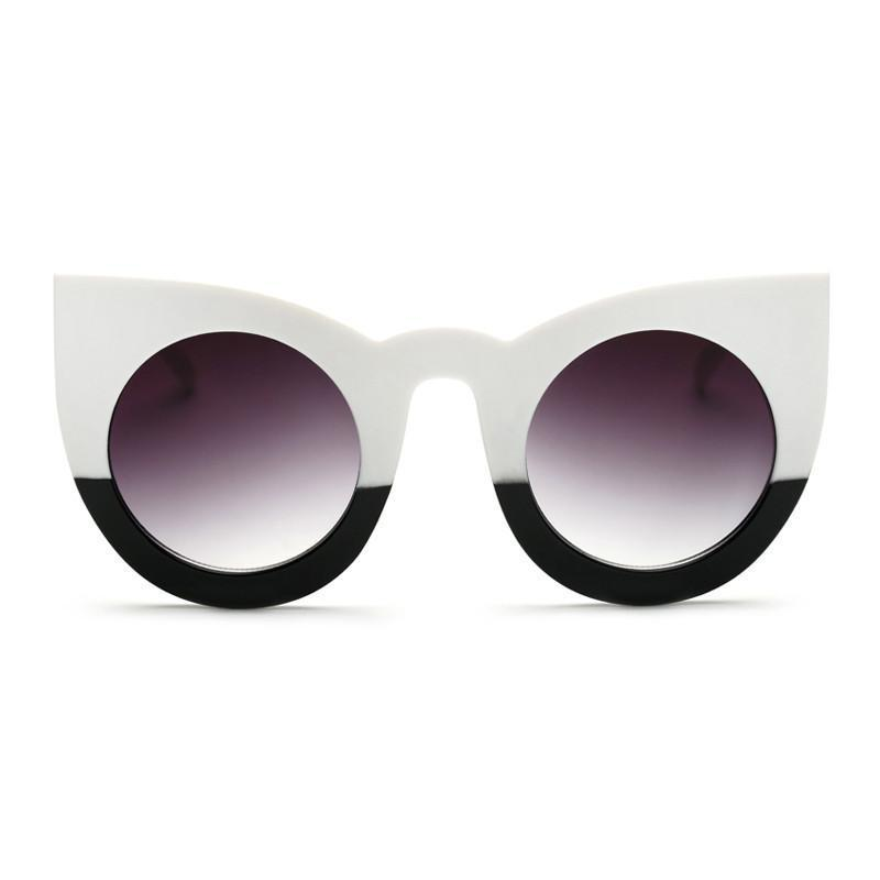 fashion sexy round cat eye sunglasses gradient white black big ladies sun glasses for women - 10MINUS: Online Shopping Destination with High-Quality