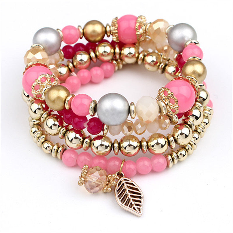 4pcs/set Brand Designer Fashion Multilayer Crystal Beads Leaves Tassel Bracelets & Bangles Pulseras Mujer Jewelry for Women Gift - Best price in 10minus