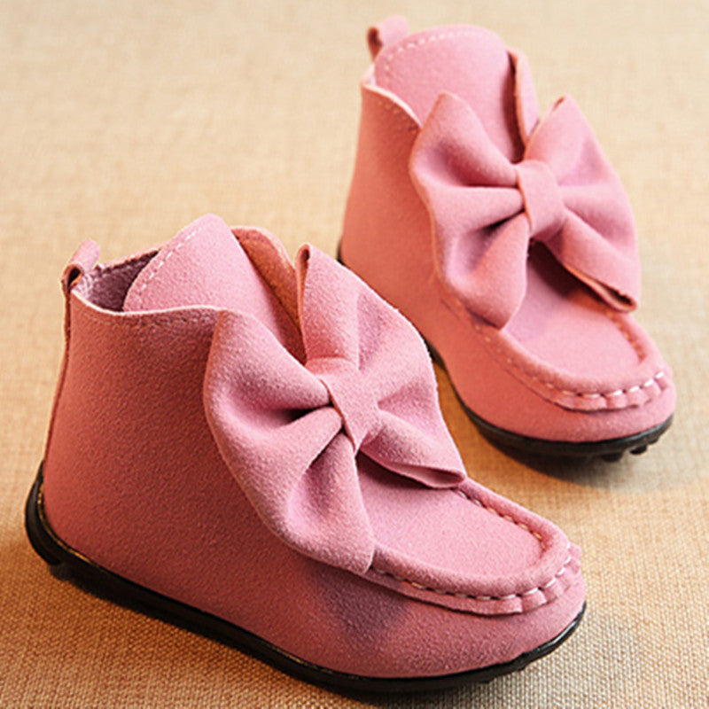 2016 Autumn Winter nubuck Leather Children warm boots fashion bowtie Princess Girl shoes Kids short Boots antislip flats - 10MINUS: Online Shopping Destination with High-Quality