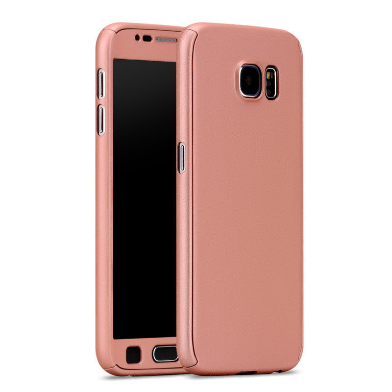 New Hybrid 360 Case For coque Samsung Galaxy S6 S7 Full Body Protective Case Cover Hard Back Phone Bag Sleeve + Tempered Glass - 10MINUS: Online Shopping Destination with High-Quality