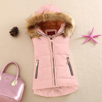 autumn and winter cotton vest with a hood patchwork cotton vest female reversible winter jacket - 10MINUS: Online Shopping Destination with High-Quality