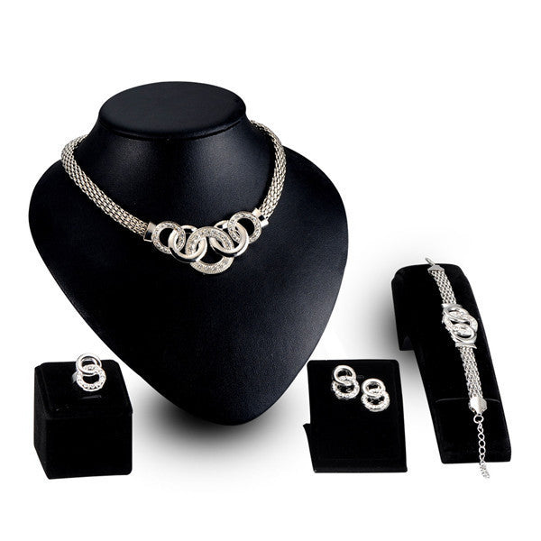 New Vintage Jewelry Sets Nigerian African Beads Collar Statement Necklace Earrings Bracelet Ring Women Wedding Party Accessories - 10MINUS: Online Shopping Destination with High-Quality