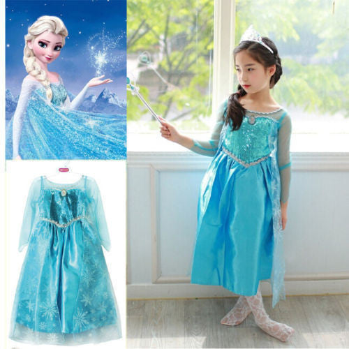Promotion High Quality Girls Princess Anna Elsa Cosplay Costume Kid's Party Dress SZ 3-8Y - Best price in 10minus