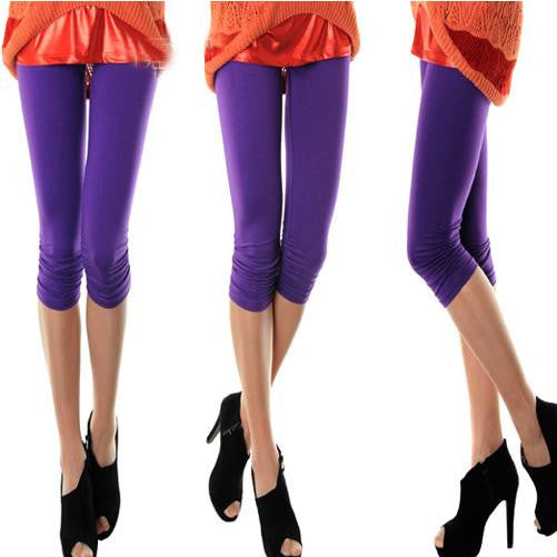 2016 new leggings Casual Women Ladies Seamless Solid Stretch Skinny Cropped To Calf women leggings Half Pants pants - 10MINUS: Online Shopping Destination with High-Quality