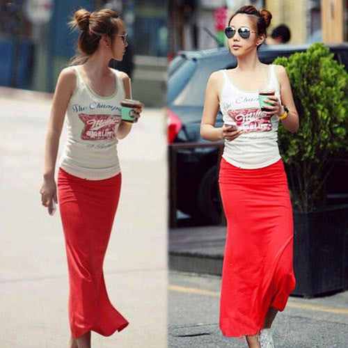 1X Women Solid Cotton Maxi Skirt Women High Waist Slim Hip Long Pencil Skirts Full Length Stretchy Sexy summer autumn Long Skirt - 10MINUS: Online Shopping Destination with High-Quality