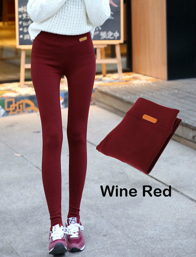 2016 Fall New Womens Casual Thicken Nine Pants Leggings Waist Leather Lable Elastic Cotton Leggings Pants Female Women Clothing - 10MINUS: Online Shopping Destination with High-Quality