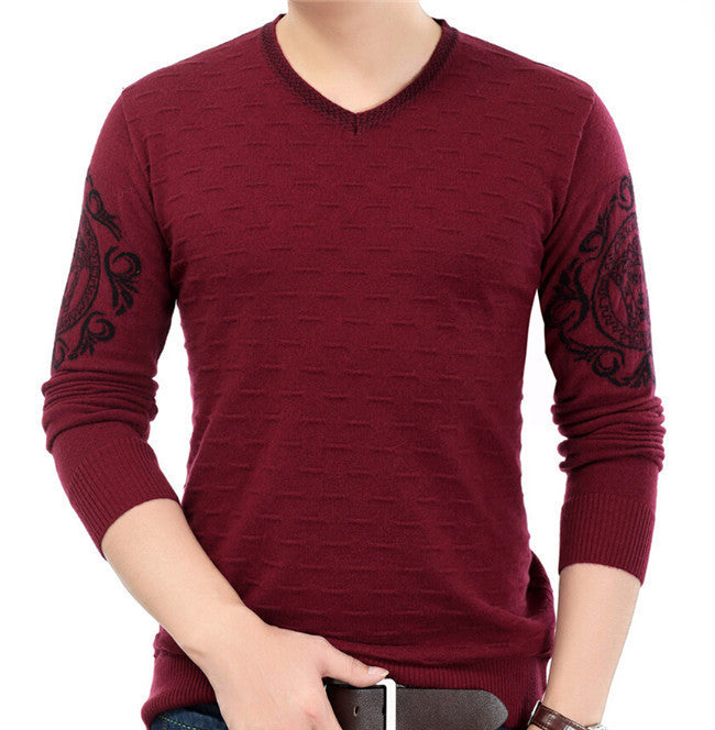 2016 new 100% cashmere men long-sleeved V-neck casual sweaters autumn and winter Korean version of the solid color pullovers - 10MINUS: Online Shopping Destination with High-Quality