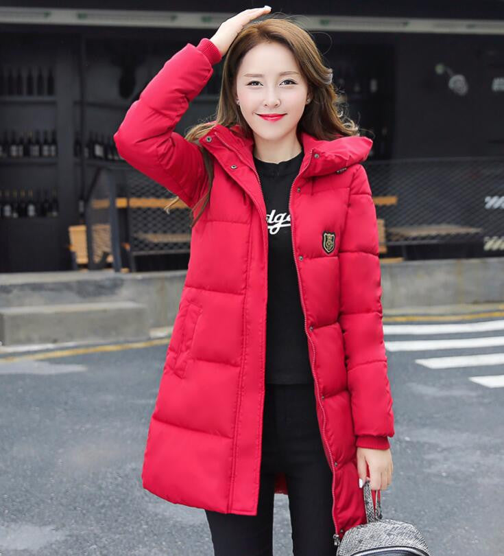 2016 New Fashion Long Winter Jacket Women Slim Female Coat Thicken Parka Cotton Clothing Red Clothing Hooded Student - 10MINUS: Online Shopping Destination with High-Quality