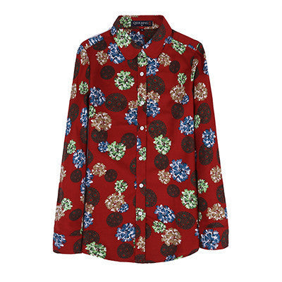 2016 Luopei Women's Shirts And Blouses Long Sleeve Turn Down Collar Cotton Casual Tops - 10MINUS: Online Shopping Destination with High-Quality