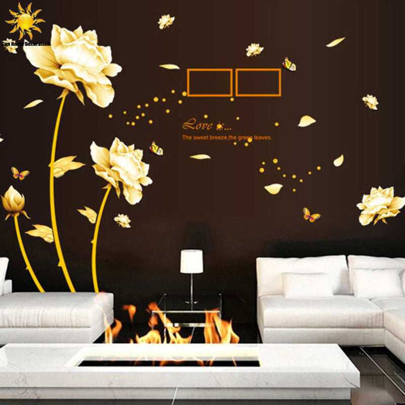 Removable Golden Homecoming Flowers Wall Sticker Art Wall Bedroom Wall Stickers Home Decoration Wall Decals Mural - 10MINUS: Online Shopping Destination with High-Quality