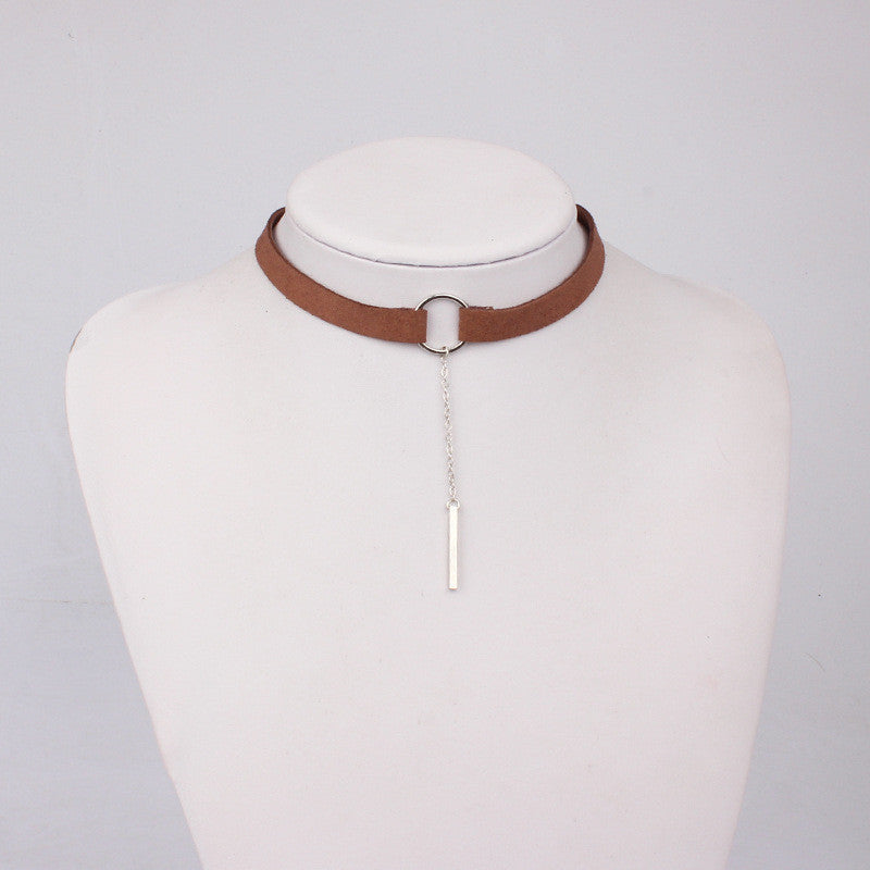 90'S Punk New Fashion 4 Colors Leather Choker Necklace Gold Plated Geometry With Round Pendant Collar Necklace For Women Girls - Best price in 10minus