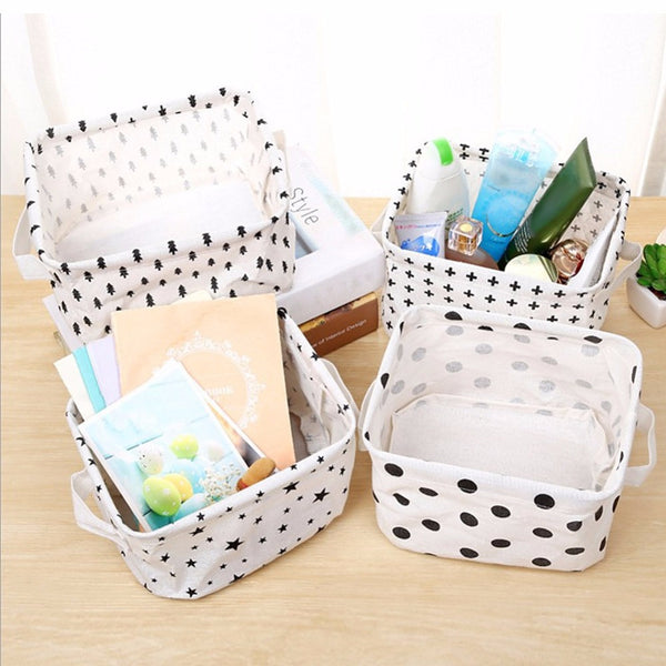Simplicity White&Black Linen Desk Storage Basket Holder Jewelry Stationery Office Organizer Case Organizer For Cosmetics #226257 - Best price in 10minus