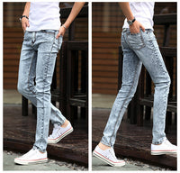 Free shipping 2016 Spring new men's black skinny jeans Fashion slim fit snowflake cowboy feet pants mens pencil pants 27-42 - 10MINUS: Online Shopping Destination with High-Quality