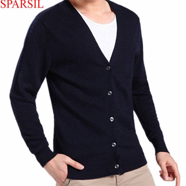 Sparsil Men's V-Neck Cashmere Blend Cardigans Autumn Winter Long Sleeve Sweater Single Breasted Soft Warm Knitwear B24 - Best price in 10minus
