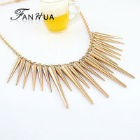 Steampunk Pendant Necklace Gold Silver Color Chain Spike Maxi Statement Necklaces & Pendants For Women Jewelry - Best price in 10minus