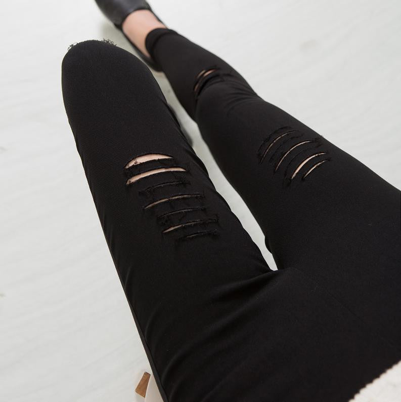 2016 Cotton High Elastic Imitate Jeans Woman Knee Skinny Pencil Pants Slim Ripped  Jeans For Women Black Ripped Jeans XXXL JN079 - 10MINUS: Online Shopping Destination with High-Quality