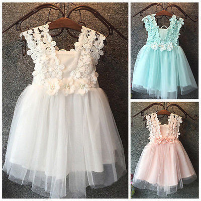 Summer Baby Girl Dress Princess Pearl Lace Tulle Flower dress Party Gown Fancy Dress Chiffon Sundress - Best price in 10minus