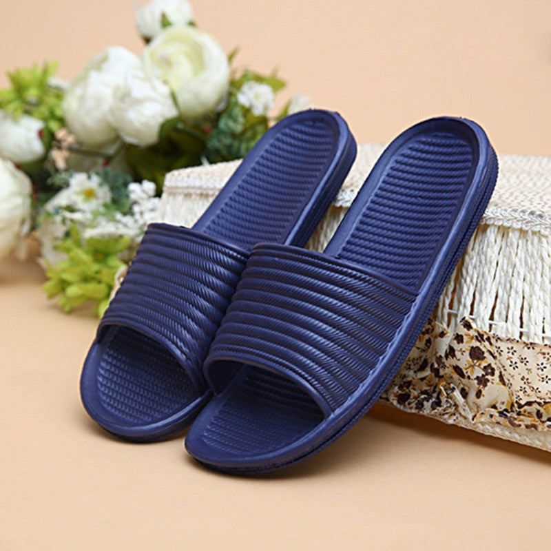 Summer Slippers Men Bathroom Bedroom Sandals Stripe Antiskid Flats Bath Home Slippers Indoor Outdoor Slippers Massage Shoes Men - Best price in 10minus