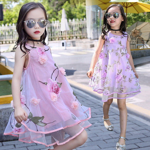 Summer Style Girls Kids Fashion Flower Lace Sleeveless Dress Baby Children Clothes Infant Party Dresses - Best price in 10minus